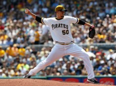 PITTSBURGH, PA - AUGUST 10:  Charlie Morton #50 of the Pittsburgh Pirates pitches against the San Diego Padres during the first inning of their game on August 10, 2014 at PNC Park in Pittsburgh, Pennsylvania.   The Padres defeated the Pirates 8-2.  (Photo by David Maxwell/Getty Images)