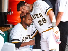 PITTSBURGH, PA - MAY 24: Francisco Liriano #47 and Francisco Cervelli #29 of the Pittsburgh Pirates share a moment in the dugout in the sixth inning against the New York Mets during the game at PNC Park on May 24, 2015 in Pittsburgh, Pennsylvania.  (Photo by Jared Wickerham/Getty Images)