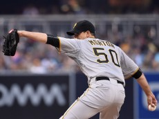SAN DIEGO, CA - MAY 30:  Charlie Morton #50 of the Pittsburgh Pirates pitches during the first inning of a baseball game against the San Diego Padres at Petco Park May 30, 2015 in San Diego, California.  (Photo by Denis Poroy/Getty Images)