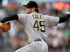 SAN FRANCISCO, CA - JUNE 01:  Gerrit Cole #45 of the Pittsburgh Pirates pitches against the San Francisco Giants in the bottom of the first inning at AT&T Park on June 1, 2015 in San Francisco, California.  (Photo by Thearon W. Henderson/Getty Images)