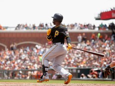 SAN FRANCISCO, CA - JUNE 03:  Andrew McCutchen #22 of the Pittsburgh Pirates hits a single in the fourth inning against the San Francisco Giants at AT&T Park on June 3, 2015 in San Francisco, California.  (Photo by Ezra Shaw/Getty Images)