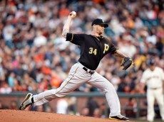 SAN FRANCISCO, CA - JUNE 02:  A.J. Burnett #34 of the Pittsburgh Pirates pitches against the San Francisco Giants at AT&T Park on June 2, 2015 in San Francisco, California.  (Photo by Ezra Shaw/Getty Images)