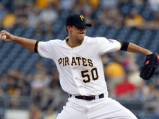 PITTSBURGH, PA - JUNE 10:  Charlie Morton #50 of the Pittsburgh Pirates pitches in the first inning during the game against the Milwaukee Brewers at PNC Park on June 10, 2015 in Pittsburgh, Pennsylvania.  (Photo by Justin K. Aller/Getty Images)