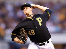 PITTSBURGH, PA - JUNE 12:  Jeff Locke #49 of the Pittsburgh Pirates pitches in the first inning against the Philadelphia Phillies during the game at PNC Park on June 12, 2015 in Pittsburgh, Pennsylvania.  (Photo by Jared Wickerham/Getty Images)