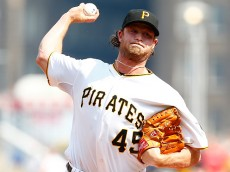 PITTSBURGH, PA - JUNE 13:  Gerrit Cole #45 of the Pittsburgh Pirates pitches in the first inning against the Philadelphia Phillies during the game at PNC Park on June 13, 2015 in Pittsburgh, Pennsylvania.  (Photo by Jared Wickerham/Getty Images)