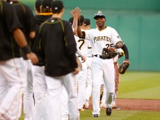 PITTSBURGH, PA - JUNE 27:  Gregory Polanco #25 of the Pittsburgh Pirates celebrates with teammates after defeating the Atlanta Braves 8-4 at PNC Park on June 27, 2015 in Pittsburgh, Pennsylvania.  (Photo by Justin K. Aller/Getty Images)