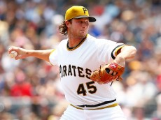 PITTSBURGH, PA - JULY 05:  Gerrit Cole #45 of the Pittsburgh Pirates pitches in the first inning against the Cleveland Indians during the game at PNC Park on July 5, 2015 in Pittsburgh, Pennsylvania.  (Photo by Jared Wickerham/Getty Images)