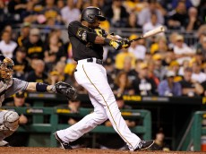 PITTSBURGH, PA - JULY 08:  Gregory Polanco #25 of the Pittsburgh Pirates hits a RBI single in the eighth inning during the game against the San Diego Padres at PNC Park on July 8, 2015 in Pittsburgh, Pennsylvania.  (Photo by Justin K. Aller/Getty Images)