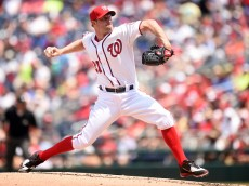 WASHINGTON, DC - JULY 19:  Max Scherzer #31 of the Washington Nationals pitches in the third inning during a baseball game against the Los Angeles Dodgers at Nationals Park on July 19, 2015 in Washington, DC.  (Photo by Mitchell Layton/Getty Images)