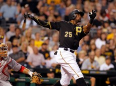 PITTSBURGH, PA - JULY 24: Gregory Polanco #25 of the Pittsburgh Pirates hits a two run home run in the fifth inning during the game against the Washington Nationals at PNC Park on July 24, 2015 in Pittsburgh, Pennsylvania. (Photo by Justin K. Aller/Getty Images)