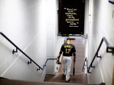 PITTSBURGH, PA - JULY 25: Aramis Ramirez #17 of the Pittsburgh Pirates walks through the players tunnel on his way to the field prior to the game against the Washington Nationals during the game at PNC Park on July 25, 2015 in Pittsburgh, Pennsylvania.  (Photo by Jared Wickerham/Getty Images)