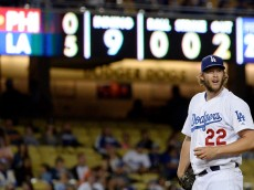 LOS ANGELES, CA - JULY 8:  Pitcher Clayton Kershaw #22 of the Los Angeles Dodgers prepares to pitch in the ninth inning against Philadelphia Phillies on July 8, 2015 at Dodger Stadium in Los Angeles, California. Kershaw pitched a complete game shutout to defeat the Phillies 5-0. (Photo by Kevork Djansezian/Getty Images)