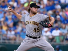 KANSAS CITY, MO - JULY 21:  Gerrit Cole #45 of the Pittsburgh Pirates in the first inning against the Kansas City Royals at Kauffman Stadium on July 21, 2015 in Kansas City, Missouri. (Photo by Ed Zurga/Getty Images)