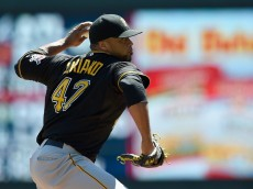MINNEAPOLIS, MN - JULY 29: Francisco Liriano #47 of the Pittsburgh Pirates delivers a pitch against the Minnesota Twins during the first inning of the game on July 29, 2015 at Target Field in Minneapolis, Minnesota. (Photo by Hannah Foslien/Getty Images)