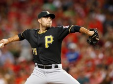 CINCINNATI, OH - JULY 31: Joakim Soria #38 of the Pittsburgh Pirates pitches in the seventh inning against the Cincinnati Reds at Great American Ball Park on July 31, 2015 in Cincinnati, Ohio. The Pirates defeated the Reds 5-4. (Photo by Joe Robbins/Getty Images)