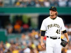 PITTSBURGH, PA - AUGUST 07: Gerrit Cole #45 of the Pittsburgh Pirates looks on in the first inning against the Los Angeles Dodgers during the game at PNC Park on August 7, 2015 in Pittsburgh, Pennsylvania.  (Photo by Jared Wickerham/Getty Images)