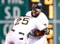 PITTSBURGH, PA - AUGUST 07:  Pedro Alvarez #24 of the Pittsburgh Pirates is congratulated by teammate Gregory Polanco #25 following his walk off game-winning RBI single in the 10th inning against the Los Angeles Dodgers during the game at PNC Park on August 7, 2015 in Pittsburgh, Pennsylvania.  (Photo by Jared Wickerham/Getty Images)