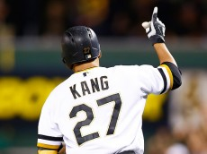 PITTSBURGH, PA - AUGUST 09: Jung Ho Kang #27 of the Pittsburgh Pirates reacts while rounding first base after hitting a three run home run in the 7th inning against the Los Angeles Dodgers during the game at PNC Park on August 9, 2015 in Pittsburgh, Pennsylvania.  (Photo by Jared Wickerham/Getty Images)