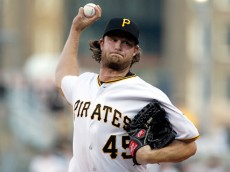 PITTSBURGH, PA - AUGUST 17:  Gerrit Cole #45 of the Pittsburgh Pirates pitches in the first inning during the game against the Arizona Diamondbacks at PNC Park on August 17, 2015 in Pittsburgh, Pennsylvania.  (Photo by Justin K. Aller/Getty Images)