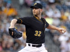 PITTSBURGH, PA - AUGUST 19:  J.A. Happ #32 of the Pittsburgh Pirates pitches in the first inning during the game against the Arizona Diamondbacks at PNC Park on August 19, 2015 in Pittsburgh, Pennsylvania.  (Photo by Justin K. Aller/Getty Images)