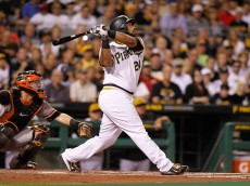 PITTSBURGH, PA - AUGUST 23:  Pedro Alvarez #24 of the Pittsburgh Pirates hits a sacrifice fly to left field in the first inning during the game against the San Francisco Giants at PNC Park on August 23, 2015 in Pittsburgh, Pennsylvania.  (Photo by Justin K. Aller/Getty Images)