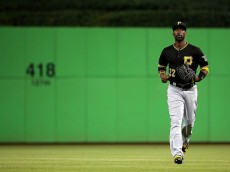 MIAMI, FL - AUGUST 24:  Andrew McCutchen #22 of the Pittsburgh Pirates looks on during a game against the Miami Marlins at Marlins Park on August 24, 2015 in Miami, Florida.  (Photo by Mike Ehrmann/Getty Images)