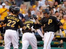PITTSBURGH, PA - AUGUST 29:  Aramis Ramirez #17 of the Pittsburgh Pirates celebrates with Andrew McCutchen #22 after hitting a three run home run in the first inning during the game against the Colorado Rockies at PNC Park on August 29, 2015 in Pittsburgh, Pennsylvania.  (Photo by Justin K. Aller/Getty Images)