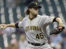 MILWAUKEE, WI - SEPTEMBER 01: Gerrit Cole #45 of Pittsburgh Pirates pitches during the first inning against the Milwaukee Brewers at Miller Park on September 01, 2015 in Milwaukee, Wisconsin. (Photo by Mike McGinnis/Getty Images)  *** Local Caption *** Gerrit Cole