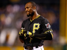 PITTSBURGH, PA - SEPTEMBER 15: Starling Marte #6 of the Pittsburgh Pirates reacts after striking out against  the Chicago Cubs during game two of the doubleheader at PNC Park on September 15, 2015 in Pittsburgh, Pennsylvania.  (Photo by Jared Wickerham/Getty Images)