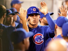 PITTSBURGH, PA - SEPTEMBER 16:  Anthony Rizzo #44 of the Chicago Cubs celebrates after scoring on a RBI double in the sixth inning during the game against the Pittsburgh Pirates at PNC Park on September 16, 2015 in Pittsburgh, Pennsylvania.  (Photo by Justin K. Aller/Getty Images)