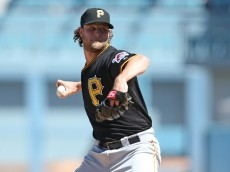 LOS ANGELES, CA - SEPTEMBER 20:  Gerrit Cole #45 of the Pittsburgh Pirates throws a pitch against the Los Angeles Dodgers at Dodger Stadium on September 20, 2015 in Los Angeles, California.  (Photo by Stephen Dunn/Getty Images)
