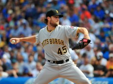 CHICAGO, IL - SEPTEMBER 25: Gerrit Cole #45 of the Pittsburgh Pirates pitches against the Chicago Cubs during the first inning on September 25, 2015 at Wrigley Field in Chicago, Illinois. (Photo by David Banks/Getty Images)