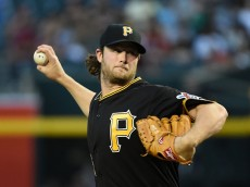 PHOENIX, AZ - APRIL 24:  Gerrit Cole #45 of the Pittsburgh Pirates delivers a first inning pitch against the Arizona Diamondbacks at Chase Field on April 24, 2015 in Phoenix, Arizona.  (Photo by Norm Hall/Getty Images)