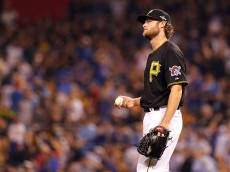PITTSBURGH, PA - OCTOBER 07:  Gerrit Cole #45 of the Pittsburgh Pirates reacts after giving up a two-run home run in the third inning during the National League Wild Card game against the Pittsburgh Pirates at PNC Park on October 7, 2015 in Pittsburgh, Pennsylvania.  (Photo by Justin K. Aller/Getty Images)