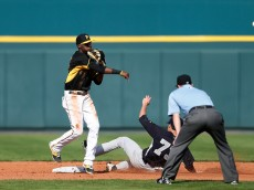 BRADENTON, FL - MARCH 5: Alen Hanson #63 of the Pittsburgh Pirates turns a double play in the ninth inning of the game against the New York Yankees at McKechnie Field on March 5, 2015 in Bradenton, Florida. The Yankees defeated the Pirates 2-1. (Photo by Joe Robbins/Getty Images)
