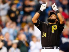 PITTSBURGH, PA - MAY 19: Pedro Alvarez #24 of the Pittsburgh Pirates reacts after hitting a solo home run in the fourth inning against the Minnesota Twins during the game at PNC Park on May 19, 2015 in Pittsburgh, Pennsylvania.  (Photo by Jared Wickerham/Getty Images)