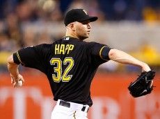 PITTSBURGH, PA - SEPTEMBER 28:  J.A. Happ #32 of the Pittsburgh Pirates pitches in the first inning against the St Louis Cardinals during the game at PNC Park on September 28, 2015 in Pittsburgh, Pennsylvania.  (Photo by Jared Wickerham/Getty Images)