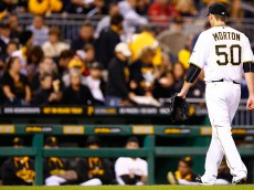 PITTSBURGH, PA - SEPTEMBER 30: Charlie Morton #50 of the Pittsburgh Pirates is pulled from the game in the third inning against the St Louis Cardinals during the game at PNC Park on September 30, 2015 in Pittsburgh, Pennsylvania.  (Photo by Jared Wickerham/Getty Images)