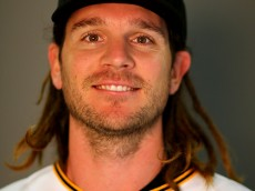 BRADENTON, FL - FEBRUARY 25:  John Jaso #28 of the Pittsburgh Pirates poses for a portrait on February 25, 2016 at Pirate City in Bradenton, Florida.  (Photo by Elsa/Getty Images)