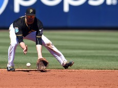 BRADENTON, FL - MARCH 06:  Jordy Mercer #10 of the Pittsburgh Pirates fields a ground ball during the third inning of a spring training game against the Houston Astros at McKechnie Field on March 6, 2016 in Bradenton, Florida.  (Photo by Stacy Revere/Getty Images)
