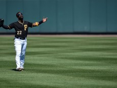BRADENTON, FL - MARCH 06:  Andrew McCutchen #22 of the Pittsburgh Pirates stands in centerfield prior to a spring training game against the Houston Astros at McKechnie Field on March 6, 2016 in Bradenton, Florida.  (Photo by Stacy Revere/Getty Images)