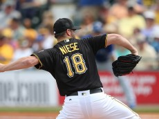 BRADENTON FL- MARCH 3: Starting pitcher Jonathon Niese #18 of the Pittsburgh Pirates pitching during the second inning of the Spring Training Game against the Toronto Blue Jays on March 3, 2016 at McKechnie Field in Bradenton, Florida. The Blue Jays defeated the Pirates 10-8. (Photo by Leon Halip/Getty Images)