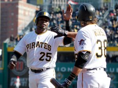 PITTSBURGH, PA - APRIL 03:  Gregory Polanco #25 of the Pittsburgh Pirates celebrates with Michael Morse #38 after scoring on an RBI double in the eighth inning during opening day against the St. Louis Cardinals at PNC Park on April 3, 2016 in Pittsburgh, Pennsylvania. (Photo by Justin K. Aller/Getty Images)