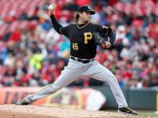 CINCINNATI, OH - APRIL 9: Gerrit Cole #45 of the Pittsburgh Pirates throws a pitch during the second inning of the game against the Cincinnati Reds at Great American Ball Park on April 9, 2016 in Cincinnati, Ohio. (Photo by Kirk Irwin/Getty Images)