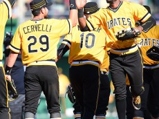 PITTSBURGH, PA - APRIL 17:  Starling Marte #6 celebrates withFrancisco Cervelli #29 of the Pittsburgh Pirates after a 9-3 win over the Milwaukee Brewers on April 17, 2016 at PNC Park in Pittsburgh, Pennsylvania.  (Photo by Joe Sargent/Getty Images)