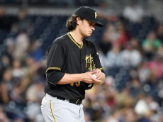 SAN DIEGO, CALIFORNIA - APRIL 20:  Jeff Locke #49 of the Pittsburgh Pirates walks back to the mound after giving up a run during the third inning of a baseball game against the San Diego Padres at PETCO Park on April 20, 2016 in San Diego, California.  (Photo by Denis Poroy/Getty Images)