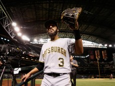 PHOENIX, AZ - APRIL 24:  Sean Rodriguez #3 of the Pittsburgh Pirates waves to fans after defeating the Arizona Diamondbacks 12-10 in 13 innings at the MLB game at Chase Field on April 24, 2016 in Phoenix, Arizona.  (Photo by Christian Petersen/Getty Images)
