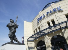 PITTSBURGH, PA- APRIL 10: A statue of Honus Wagner in front of the entrance to the PNC Park on April 10, 2006 in Pittsburgh, Pennsylvania. (Photo by Rick Stewart/Getty Images)