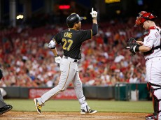 CINCINNATI, OH - MAY 11: Jung Ho Kang #27 of the Pittsburgh Pirates reacts after hitting a solo home run against the Cincinnati Reds in the seventh inning of the game at Great American Ball Park on May 11, 2016 in Cincinnati, Ohio. The Pirates defeated the Reds 5-4. (Photo by Joe Robbins/Getty Images)