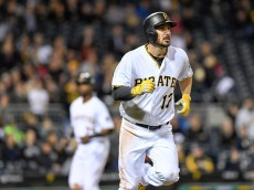 PITTSBURGH, PA - MAY 16:  Matt Joyce #17 of the Pittsburgh Pirates rounds the bases after hitting a two run home run in the seventh inning during the game against the Atlanta Braves at PNC Park on May 16, 2016 in Pittsburgh, Pennsylvania. (Photo by Justin Berl/Getty Images)
